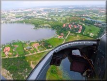 View from a helicopter cockpit