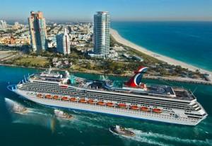 Carnival Valor arriving into Miami