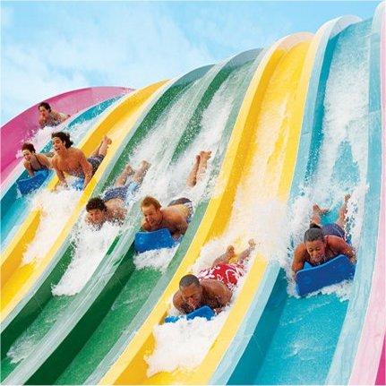 8 lane racing water slide at SeaWorld Aquatica