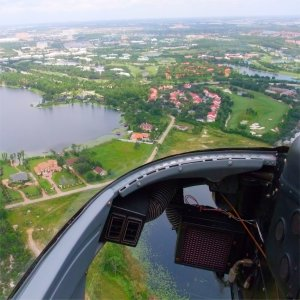 View from helicopter cockpit - Orlando Helitours