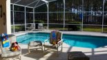 View of pool area from covered lanai with this Orlando Villa for rent direct from owner