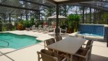 Dining under the lanai from Highlands Reserve rental Villa direct from owner