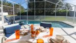 Breakfast on the sunny pool deck with this Orlando Villa for rent direct from owner
