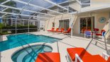 Pool & spa viewed toward shady lanai with this Orlando Villa for rent direct from owner