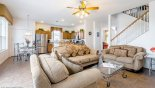 Family room with ample comfortable seating for all from Highlands Reserve rental Villa direct from owner