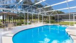 Large extended pool deck gets the sun all day from Monticello 3 Villa for rent in Orlando