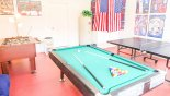 Fully equipped games room with table foosball, table tennis, pool table & small table hockey from Highlands Reserve rental Villa direct from owner