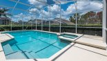 Massive 32' x 15' pool with extended pool deck & spa from Highlands Reserve rental Villa direct from owner