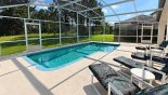 View of pool with 4 sun loungers and golf course beyond with this Orlando Villa for rent direct from owner