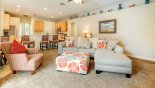 Spacious rental Highlands Reserve Villa in Orlando complete with stunning Family room with comfortable seating