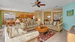 Villa rentals near Disney direct with owner, check out the Family room viewed towards kitchen & breakfast nook
