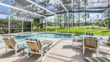 View of pool & spa with stunning golf course views from Santa Barbara 3 Villa for rent in Orlando
