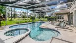 Villa rentals near Disney direct with owner, check out the View of pool & spa with 4 sun loungers