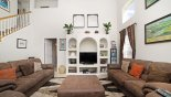 Villa rentals in Orlando, check out the Gleneagles themed family room with cathedral ceiling