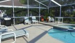 Plenty of room and seating on the oversized lanai - www.iwantavilla.com is the best in Orlando vacation Villa rentals
