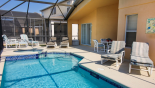 Spacious rental Emerald Island Resort Villa in Orlando complete with stunning Pool deck showing all 6 sun loungers