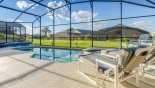Large pool and spa on extended sunny pool deck - www.iwantavilla.com is the best in Orlando vacation Villa rentals