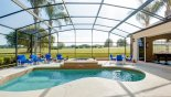 Spacious rental Highlands Reserve Villa in Orlando complete with stunning Sunny extended pool deck with splendid golf course views