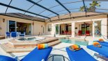 6 sun loungers for your sunbathing comfort with this Orlando Villa for rent direct from owner