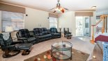 Villa rentals in Orlando, check out the Family room with views and access onto pool deck
