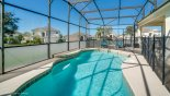 Sunny swimming pool with low level privacy screening - www.iwantavilla.com is the best in Orlando vacation Villa rentals