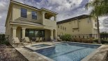 View of pool & spa with 4 sun loungers with this Orlando Villa for rent direct from owner