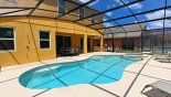 View of pool & shady lanai with patio table & 6 chairs from Coconut Palm 1 Villa for rent in Orlando