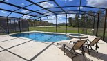 Sunny south facing pool with 2 sun loungers from Watersong Resort rental Villa direct from owner