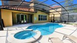 Spacious rental Watersong Resort Villa in Orlando complete with stunning View of pool & spa towards covered shady lanai