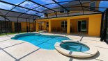 Villa rentals near Disney direct with owner, check out the View of pool & shady lanai with 4 sun loungers & patio table with 6 chairs
