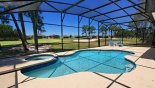 Villa rentals near Disney direct with owner, check out the View of pool & spa and golf course beyond