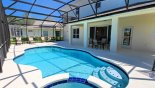 Villa rentals near Disney direct with owner, check out the View of pool towards covered shady lanai