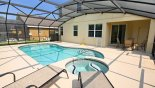 Villa rentals near Disney direct with owner, check out the View from pool towards shady covered lanai with table & 4 chairs