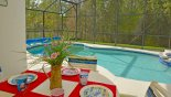 View of pool from shady lanai with patio table & 4 chairs from Sandy Ridge rental Villa direct from owner