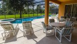 Lanai with 2 patio tables & 8 chairs from Palm Harbour 7 Villa for rent in Orlando