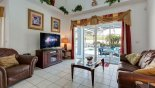 Great room with comfortable seating to enjoy a movie from Evergreen 1 Villa for rent in Orlando