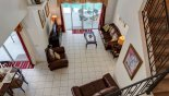 View of great room from upstairs landing from Calabay Parc at Tower Lake rental Villa direct from owner