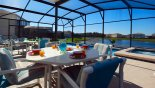 Pool deck with 2 patio tables & 8 chairs from Crescent Lakes rental Villa direct from owner