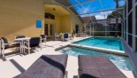 Villa rentals near Disney direct with owner, check out the Pool deck with 4 sun loungers and 2 patio tables with 8 chairs