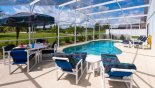 Villa rentals near Disney direct with owner, check out the Sunny pool deck with patio table, parasol & 4 chairs