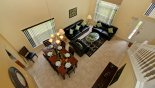 Villa rentals in Orlando, check out the Open plan living room & dining area with cathedral ceiling