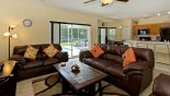 Villa rentals near Disney direct with owner, check out the Family room viewed towards kitchen
