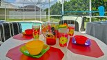 Dorada 1 Villa rental near Disney with Patio table with 4 chairs under lanai is ideal for alfresco dining