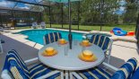Patio table with parasol & 4 chairs with this Orlando Villa for rent direct from owner