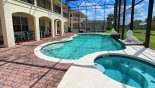 Pool & spa viewed towards balcony from Palm Beach 1 Villa for rent in Orlando