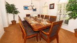 Villa rentals near Disney direct with owner, check out the Dining room with large dining table with 10 chairs
