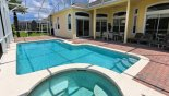 Covered lanai offers welcome shade with patio table & 6 chairs with this Orlando Villa for rent direct from owner