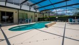 Pool deck with 2 patio tables with total of 10 chairs from Highlands Reserve rental Villa direct from owner
