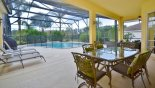 Covered lanai with patio table & 6 chairs from Wellesley 8 Villa for rent in Orlando