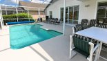 Pool deck with 6 sun loungers & patio table & 6 chairs under lanai - www.iwantavilla.com is the best in Orlando vacation Villa rentals